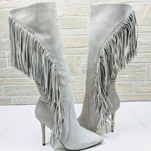 Boutique 9 Leather Suede Fringe Tall Boots NWOT